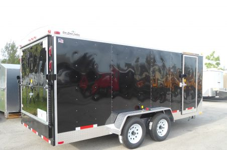 7′ x 16′ x 6'5″ Enclosed Suncoast Trailer w/ Black Sides and White Roof